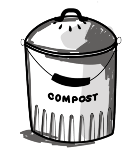 illustration de seau à compost - bioseau- en noir et blanc